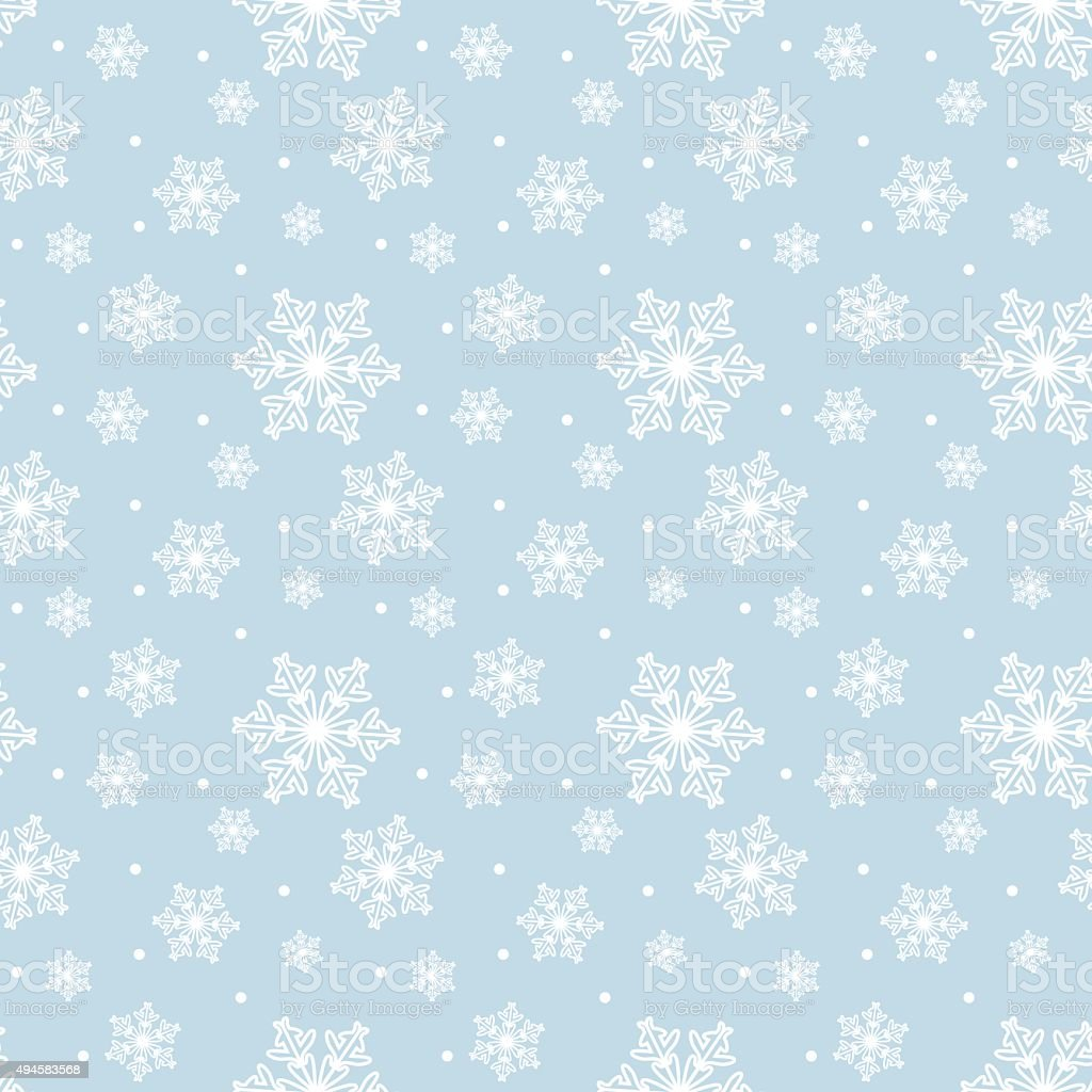 Seamless blue pattern with snowflakes vector art illustration