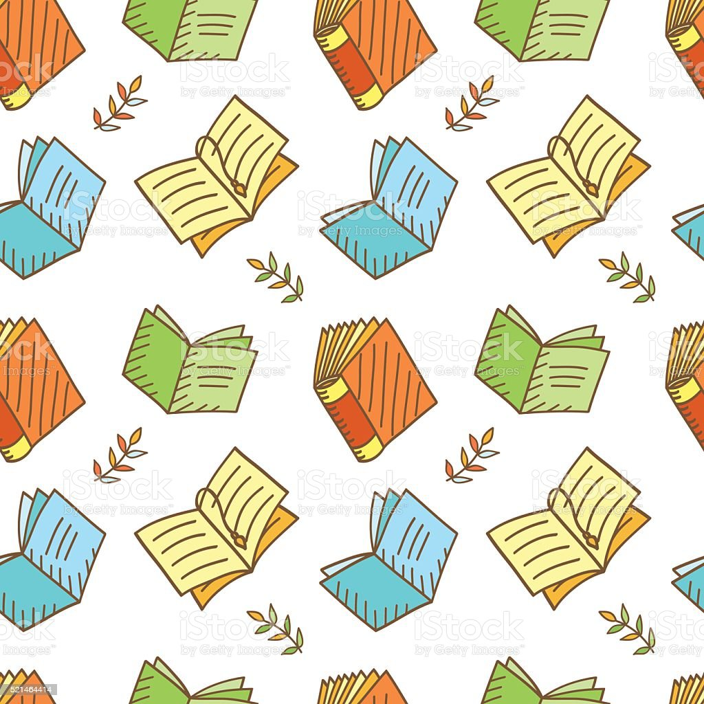 Seamless Book Pattern vector art illustration