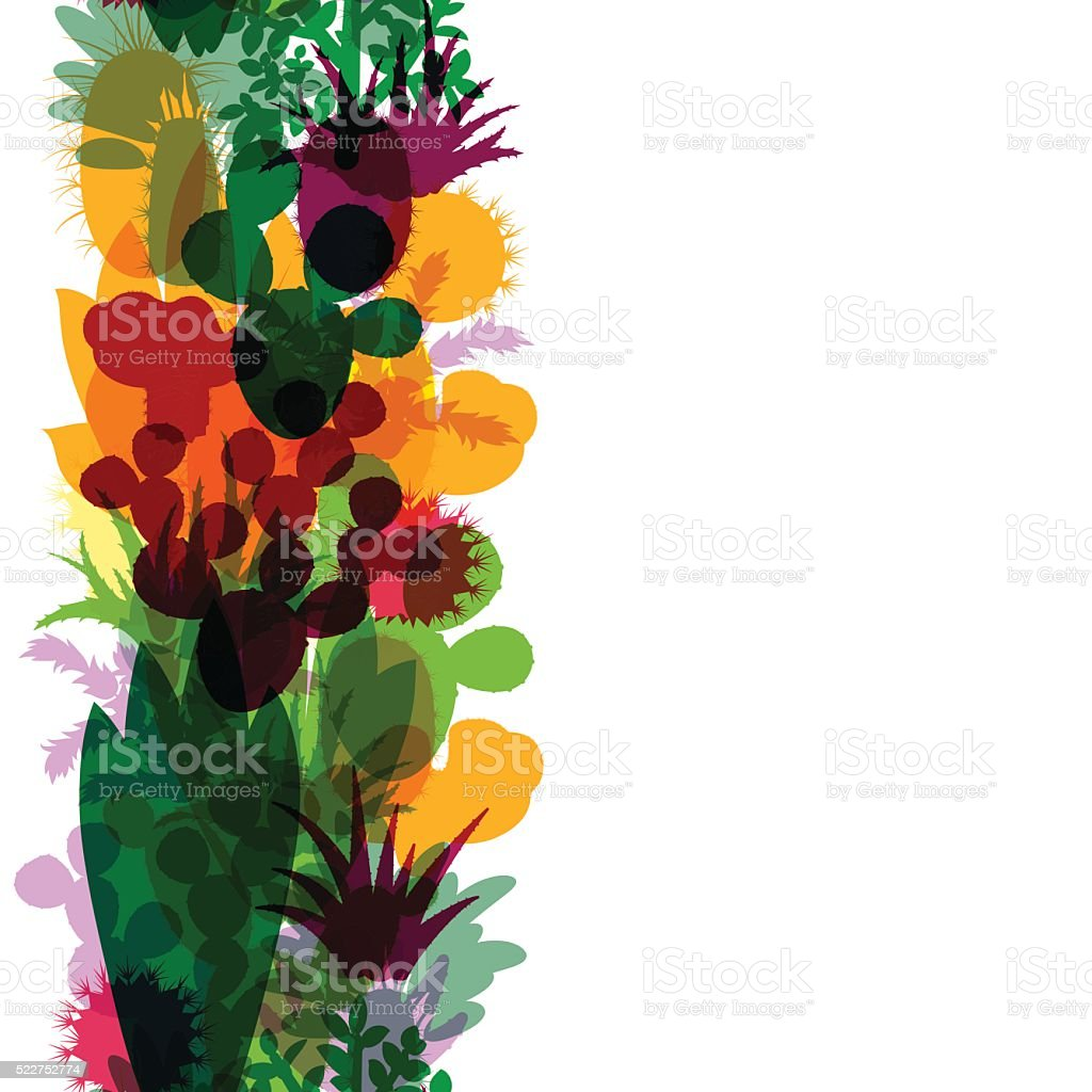 Seamless border of silhouettes of cacti and succulents. vector art illustration