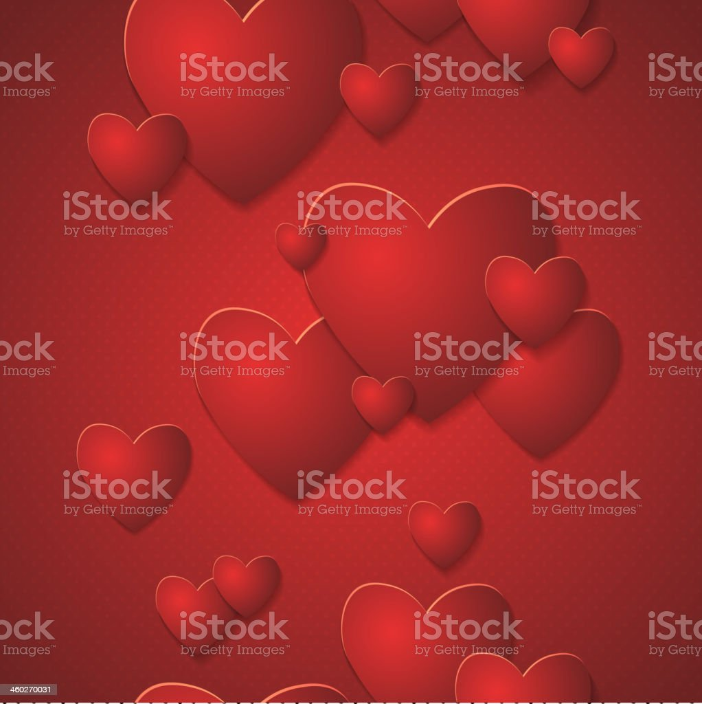 Seamless border. Red Heart Paper Stickers royalty-free stock vector art