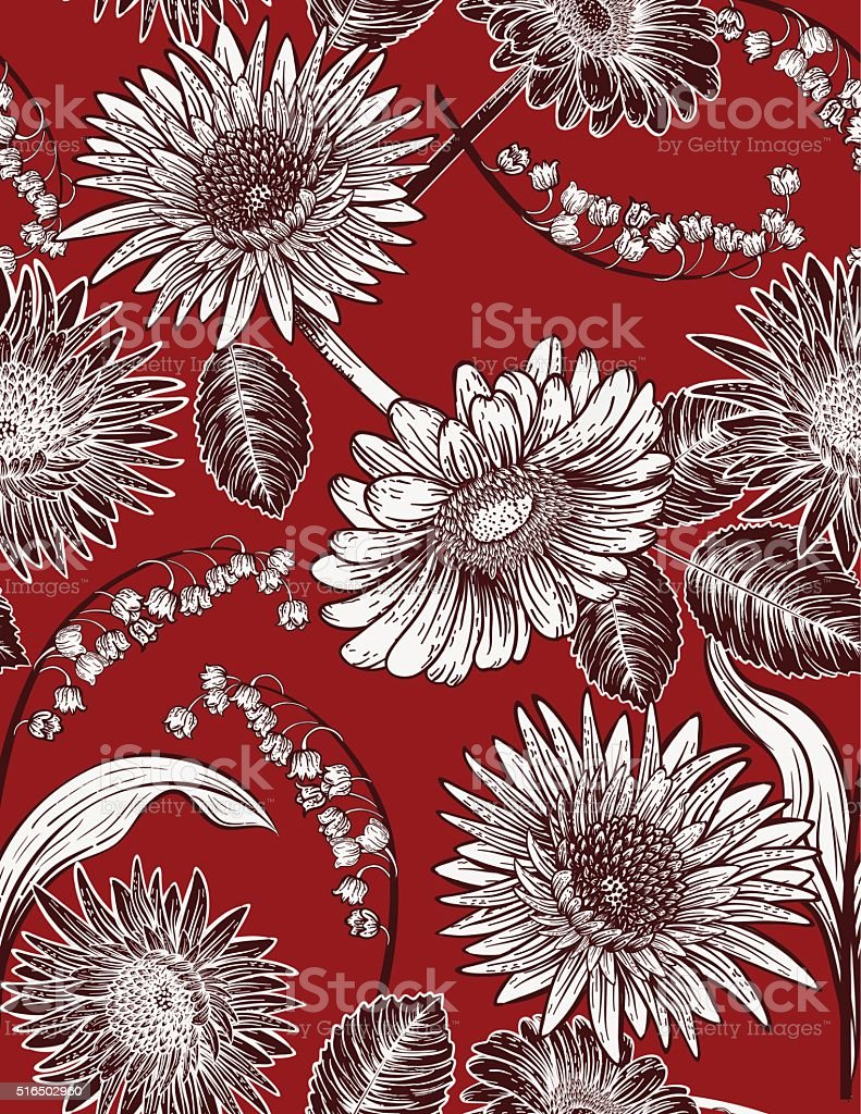 Seamless Botanical Floral Pattern Daisies and lily of The Valley vector art illustration