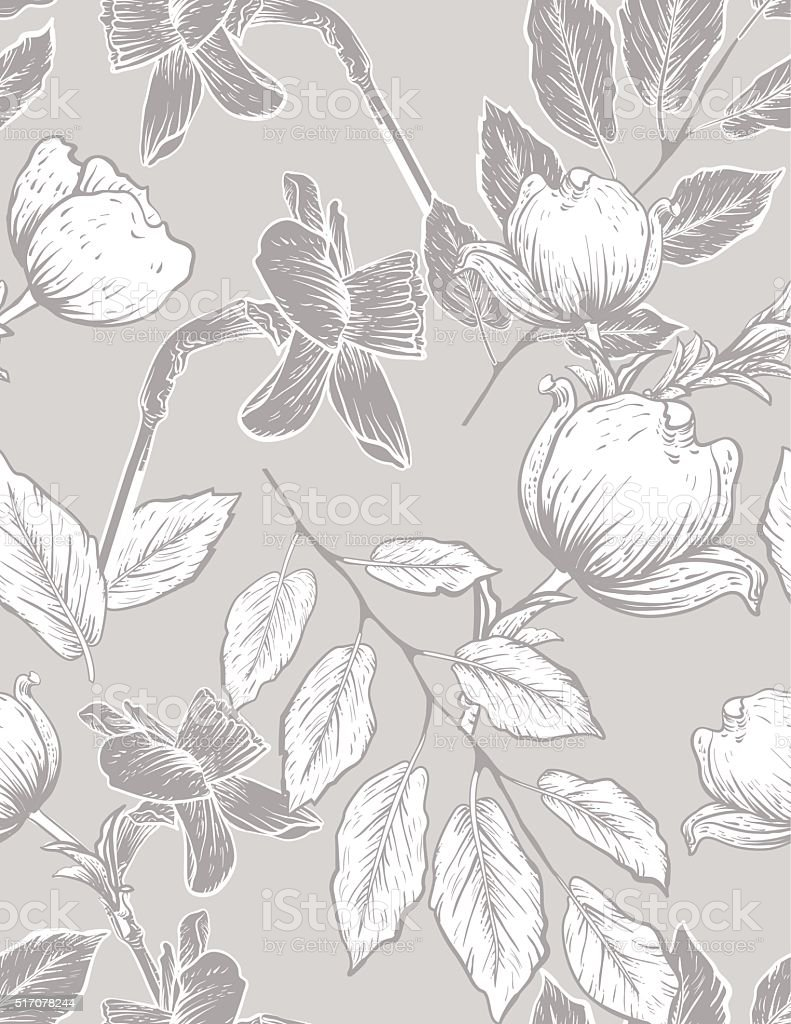 Seamless Botanical Floral Pattern Dogwood and Daffodils vector art illustration