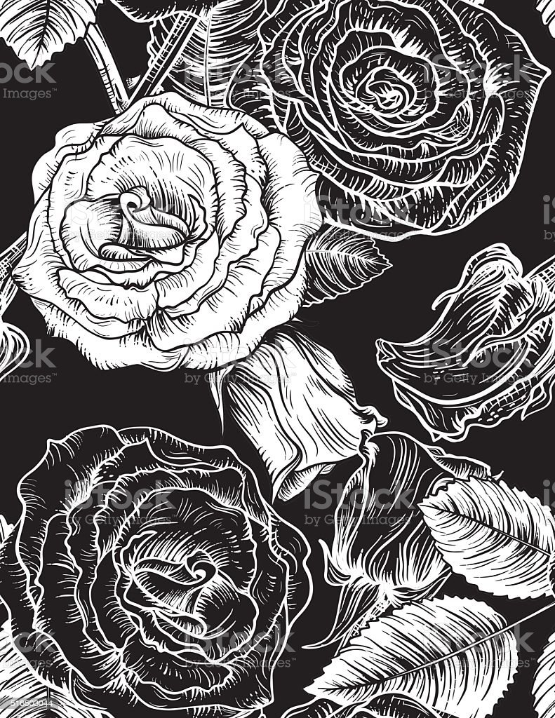 Seamless Botanical Roses Floral Pattern. vector art illustration