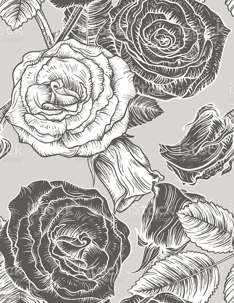 Seamless Botanical Roses Floral Pattern. vector art illustration