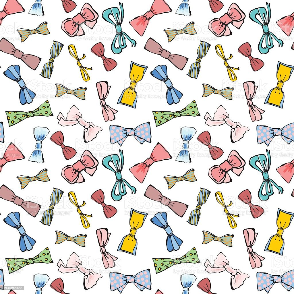 Seamless bow vector art illustration