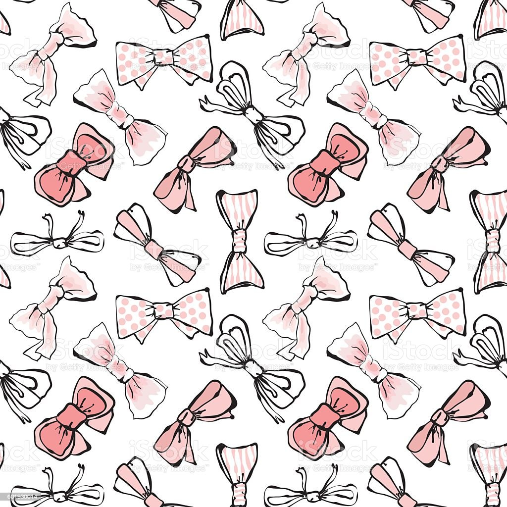 Seamless bows pattern vector art illustration