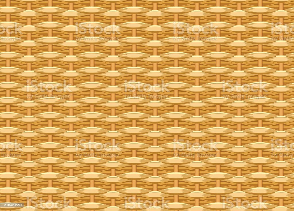 Seamless braided background. Wicker straw. Woven willow twigs. Wicker texture vector art illustration
