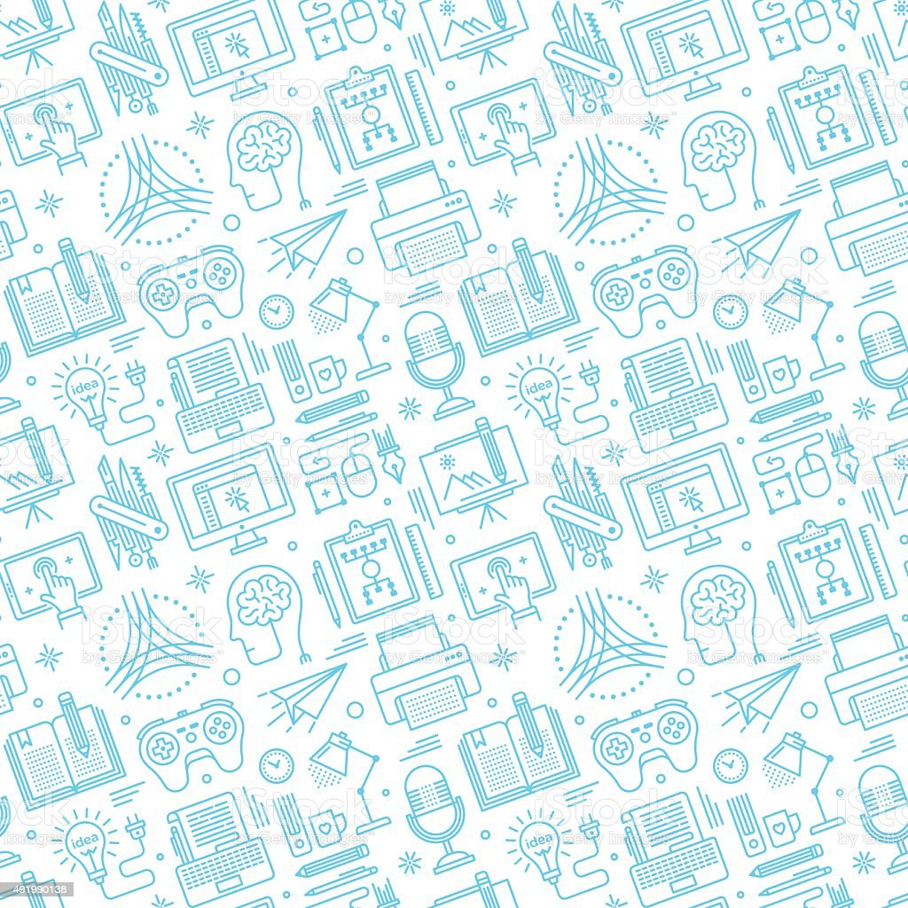 Seamless Brainstorming Pattern vector art illustration