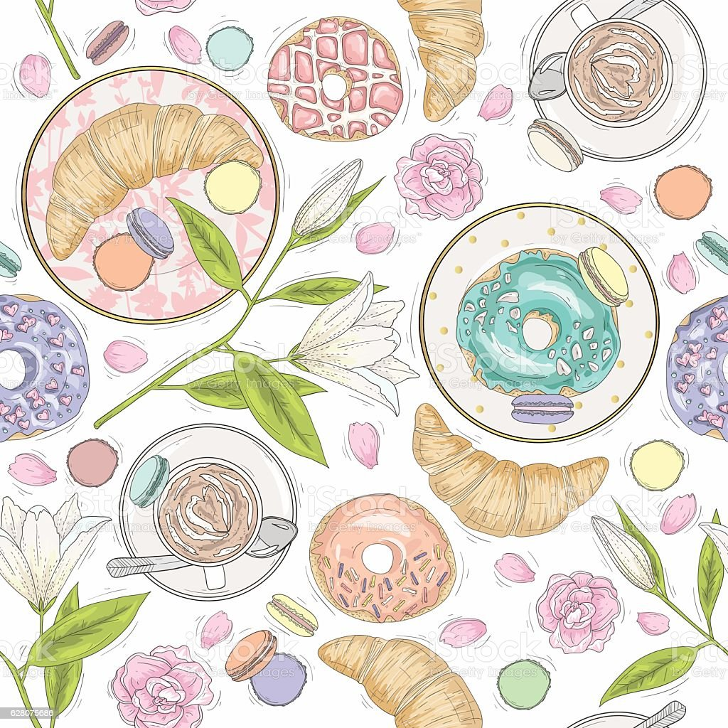Seamless breakfast pattern with flowers, pastries and coffee. vector art illustration