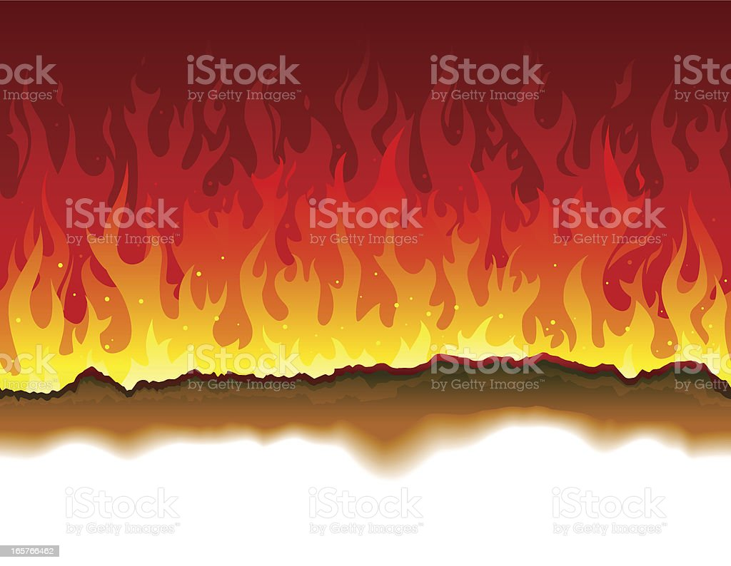 Seamless burning paper and fire background vector art illustration