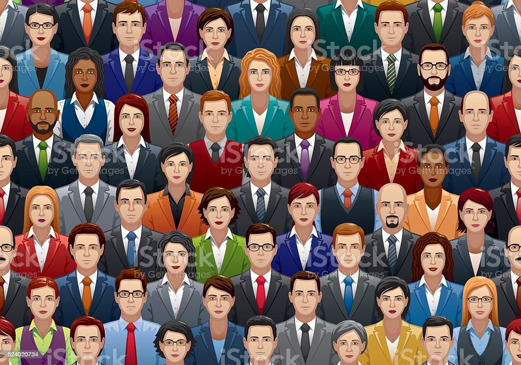 Seamless Business People Crowd vector art illustration