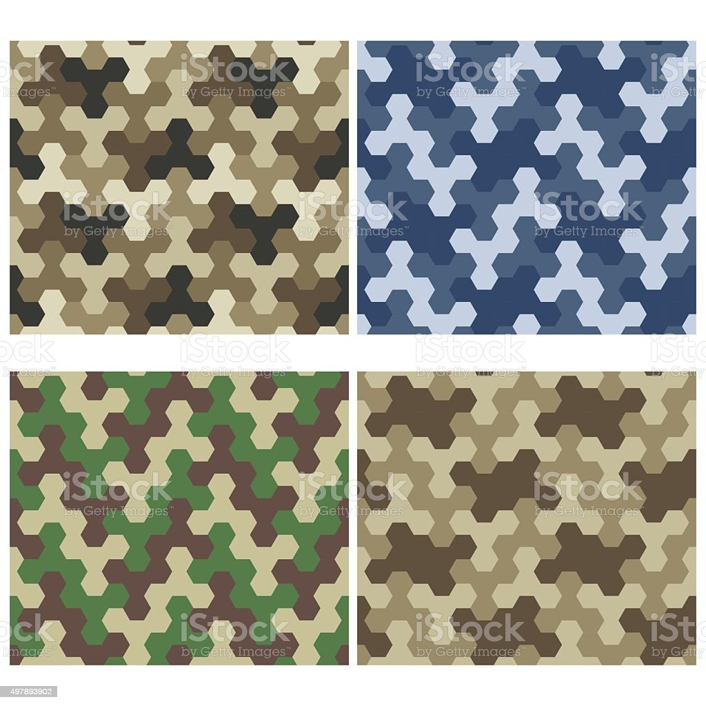 Seamless Camouflage Geometric Pattern Set. Three And Six Color V vector art illustration
