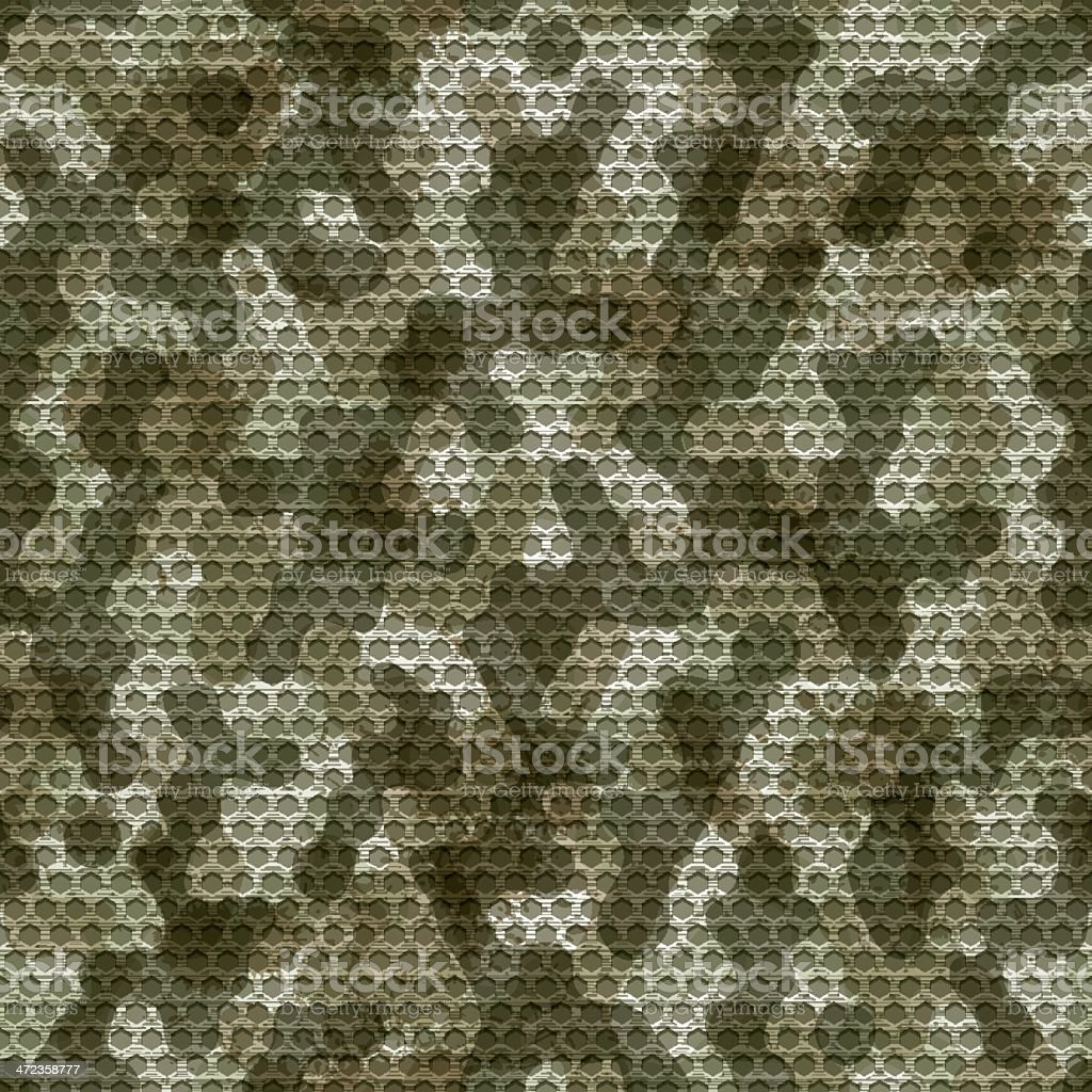 Seamless camouflage grid background vector art illustration