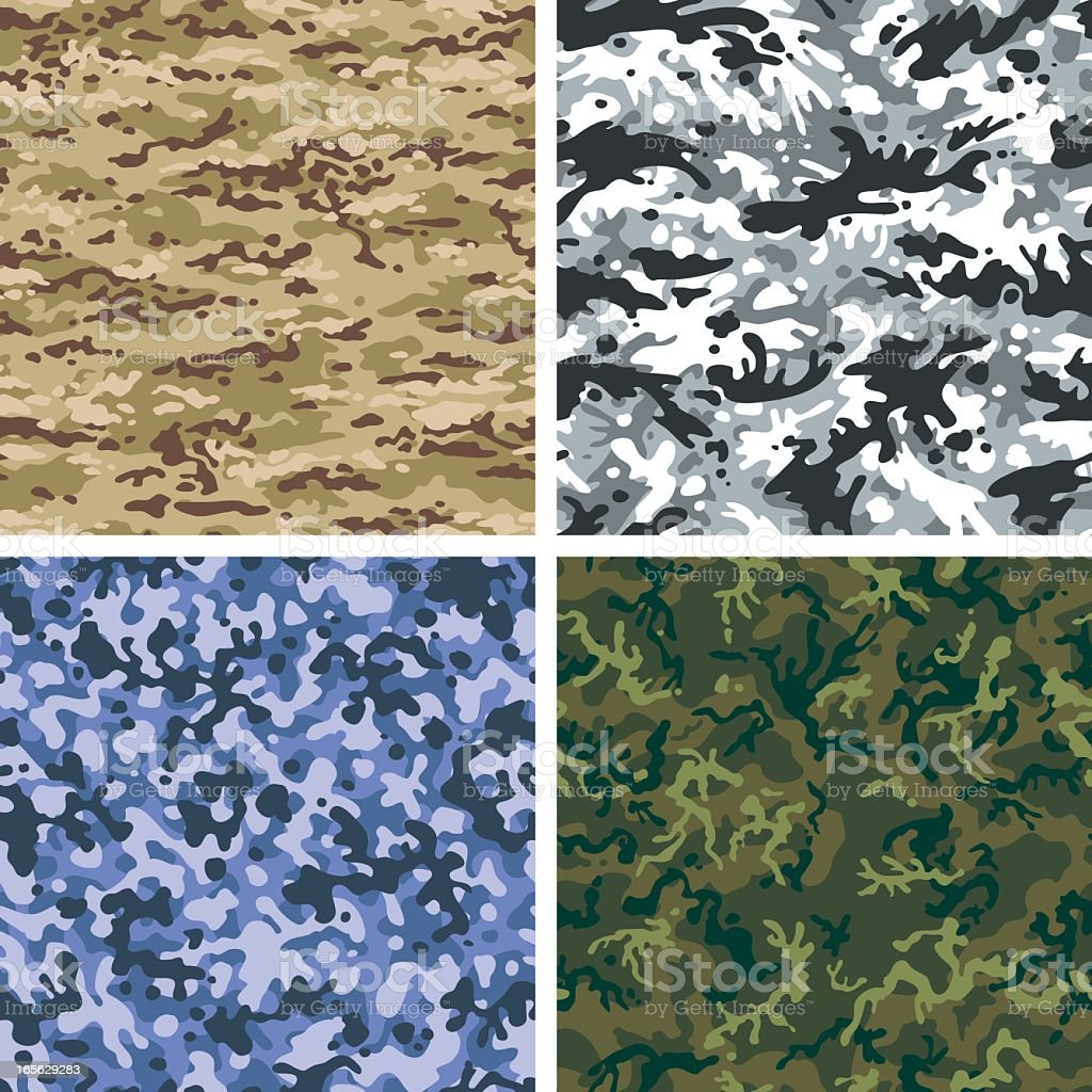 Seamless Camouflage in 4 Colors royalty-free stock vector art