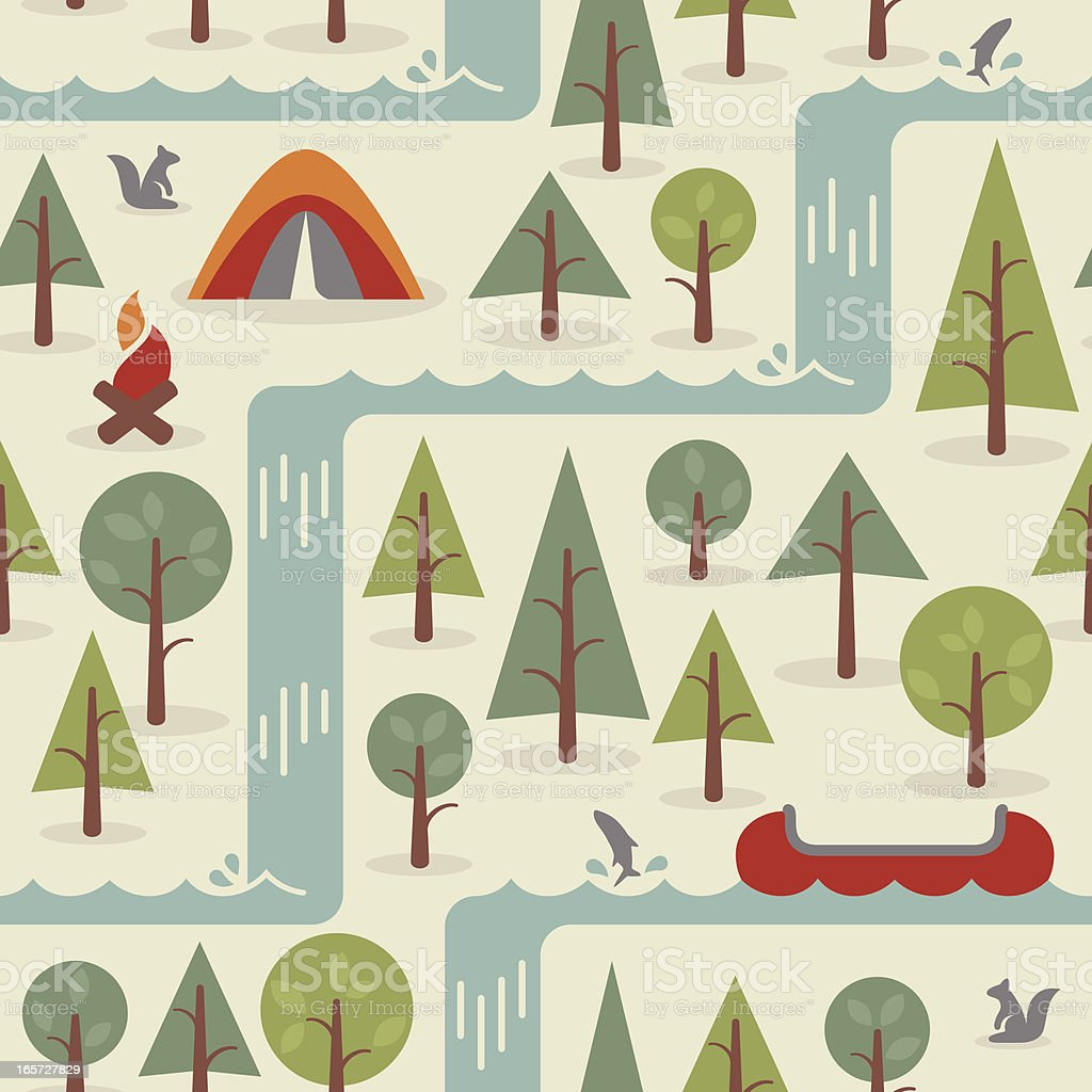 Seamless Camping Background royalty-free stock vector art