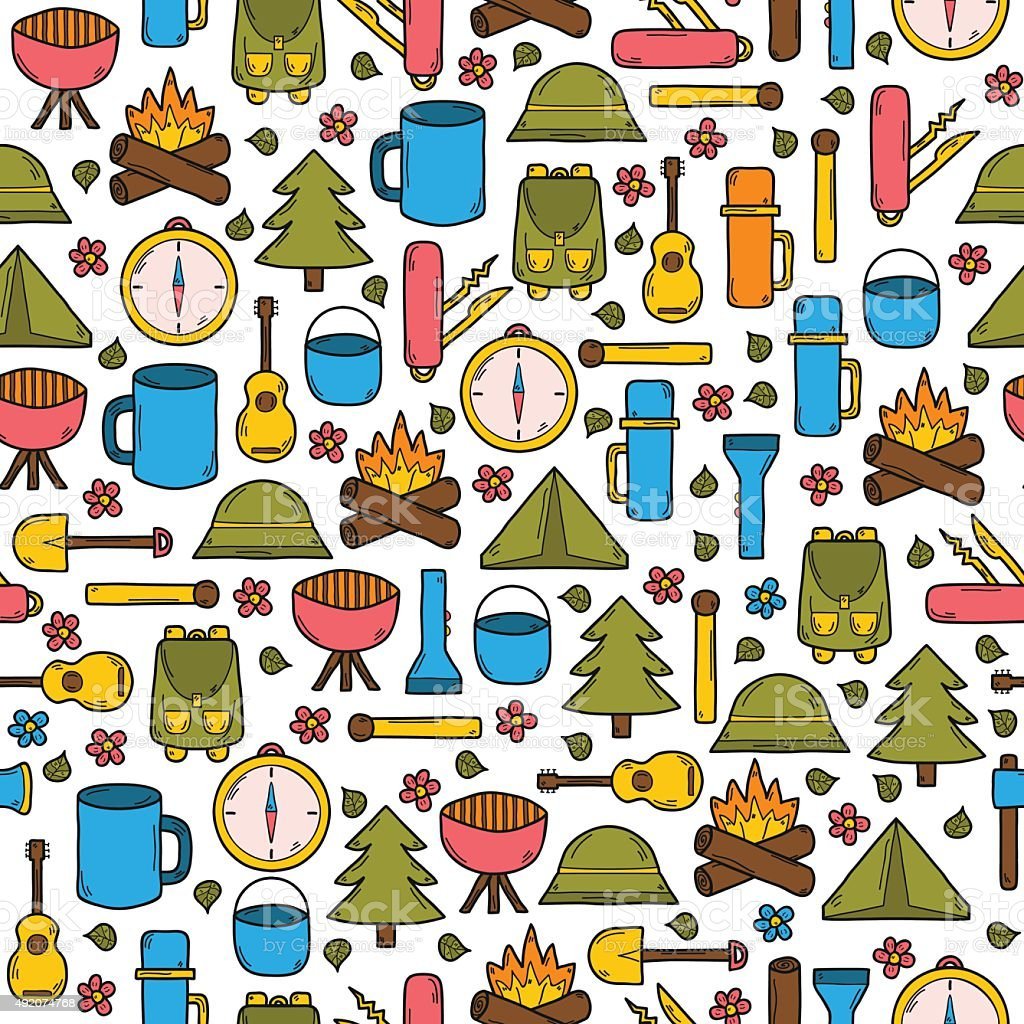 Seamless camping background vector art illustration