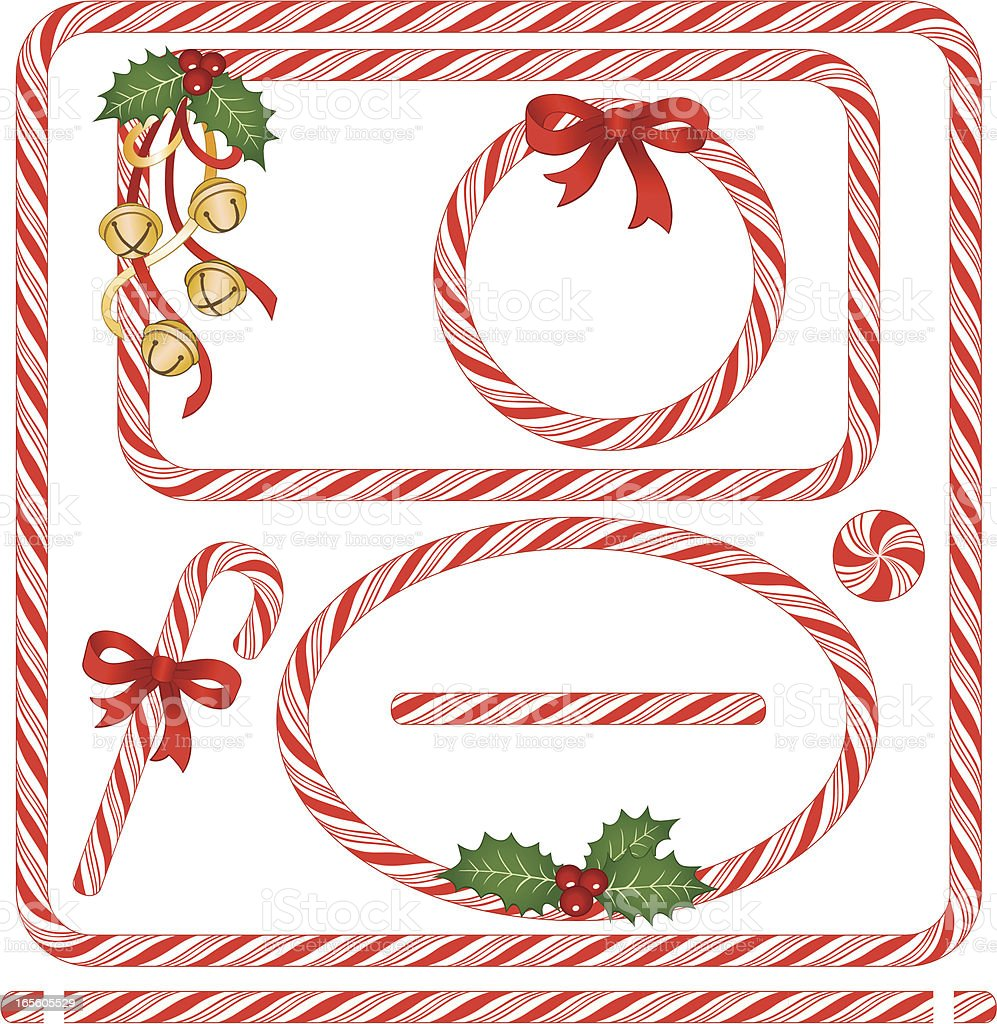 Seamless Candy Cane Frames & Borders vector art illustration