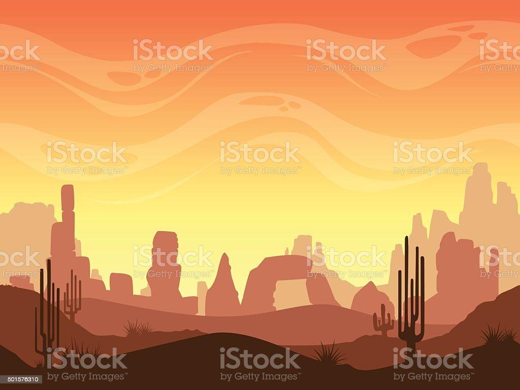 Seamless cartoon desert landscape vector art illustration