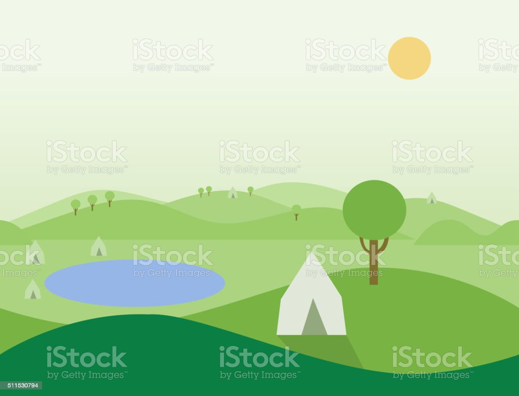 Seamless Cartoon Nature Landscape with Tents, Vector Illustration vector art illustration