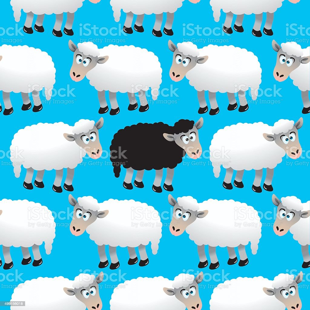Seamless Cartoon Sheep vector art illustration