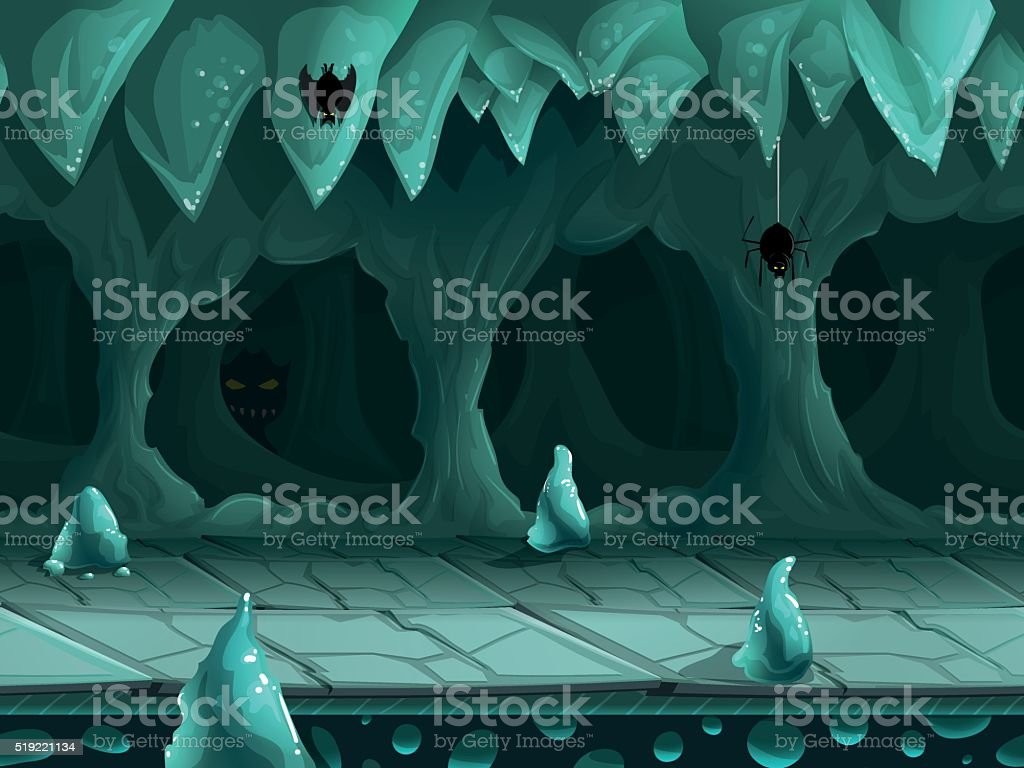 Seamless cartoon underground landscape, vector unending background. vector art illustration