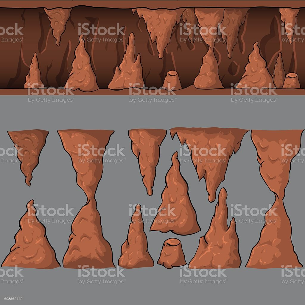 Seamless cartoon vector cave vector art illustration
