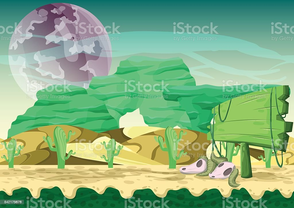 Seamless cartoon vector desert background with separated layers vector art illustration