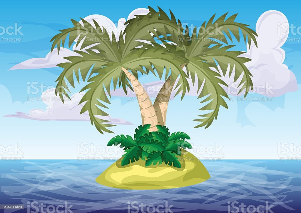 Seamless cartoon vector island with separated layers. vector art illustration