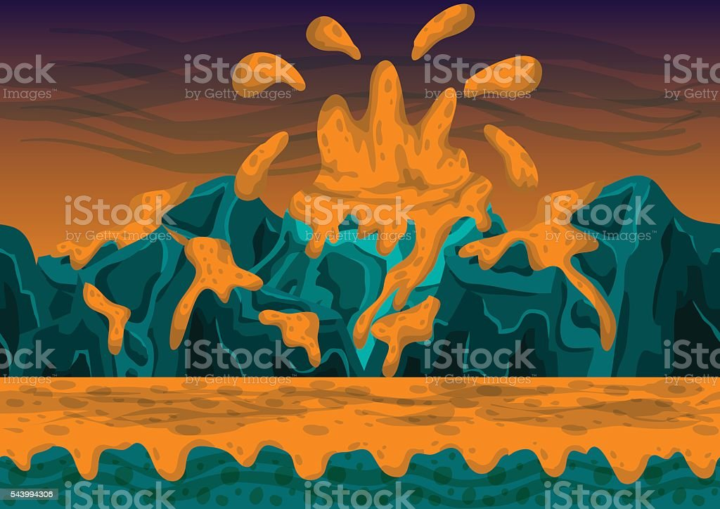 Seamless cartoon vector volcano background with separated layers vector art illustration