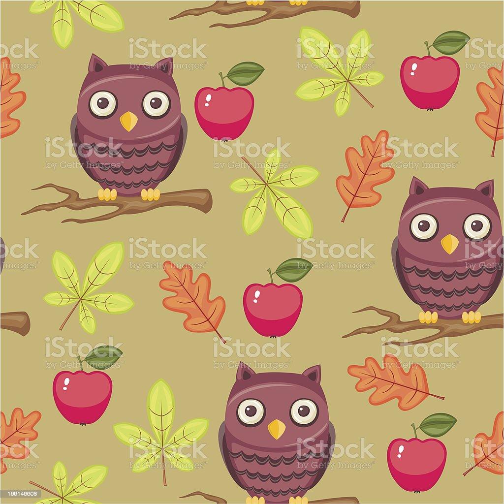 Seamless cartoon wallpaper with owls royalty-free stock vector art