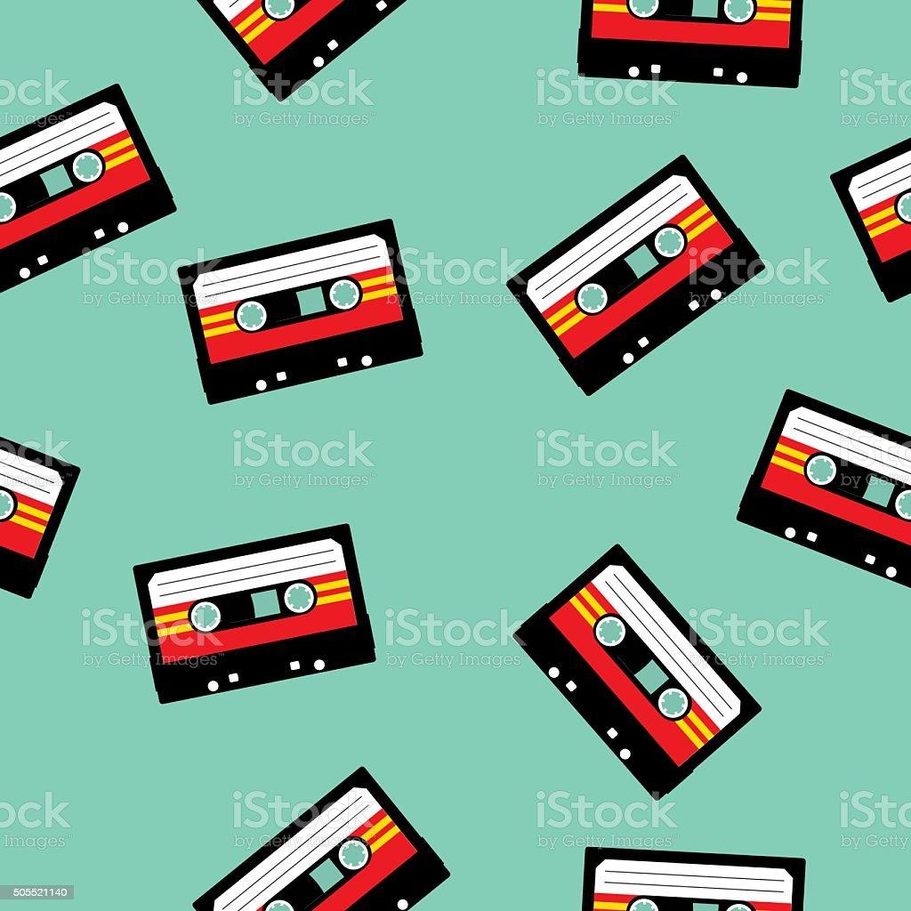 Seamless Cassette Tapes Pattern vector art illustration