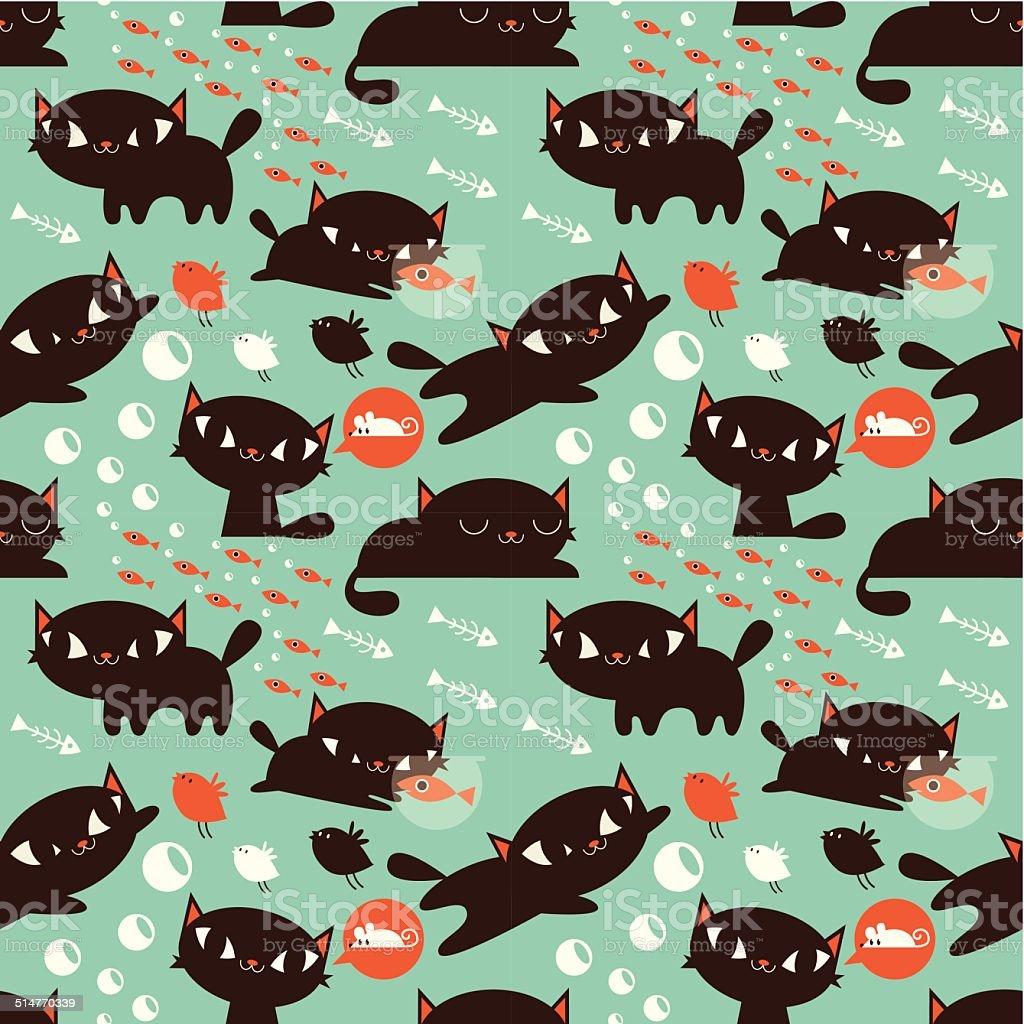 Seamless Cat and Fish Pattern vector art illustration