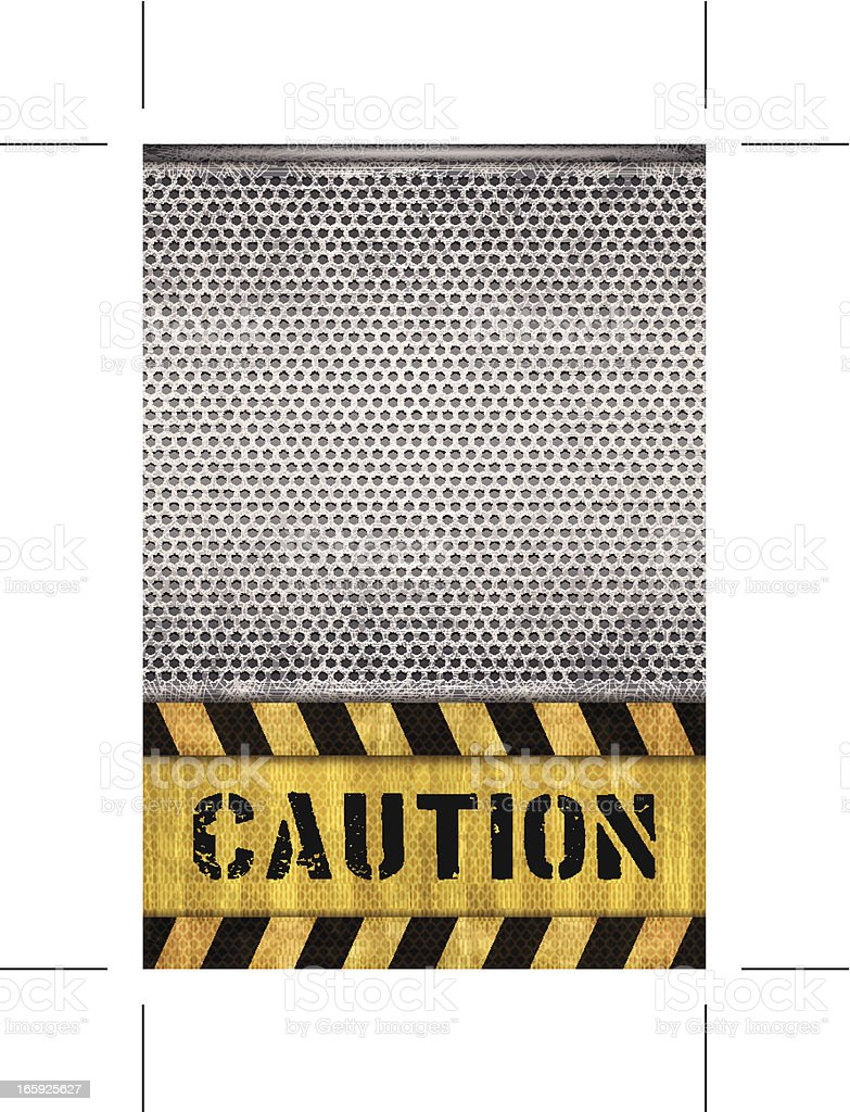 seamless caution warning banner with metal grid royalty-free stock vector art