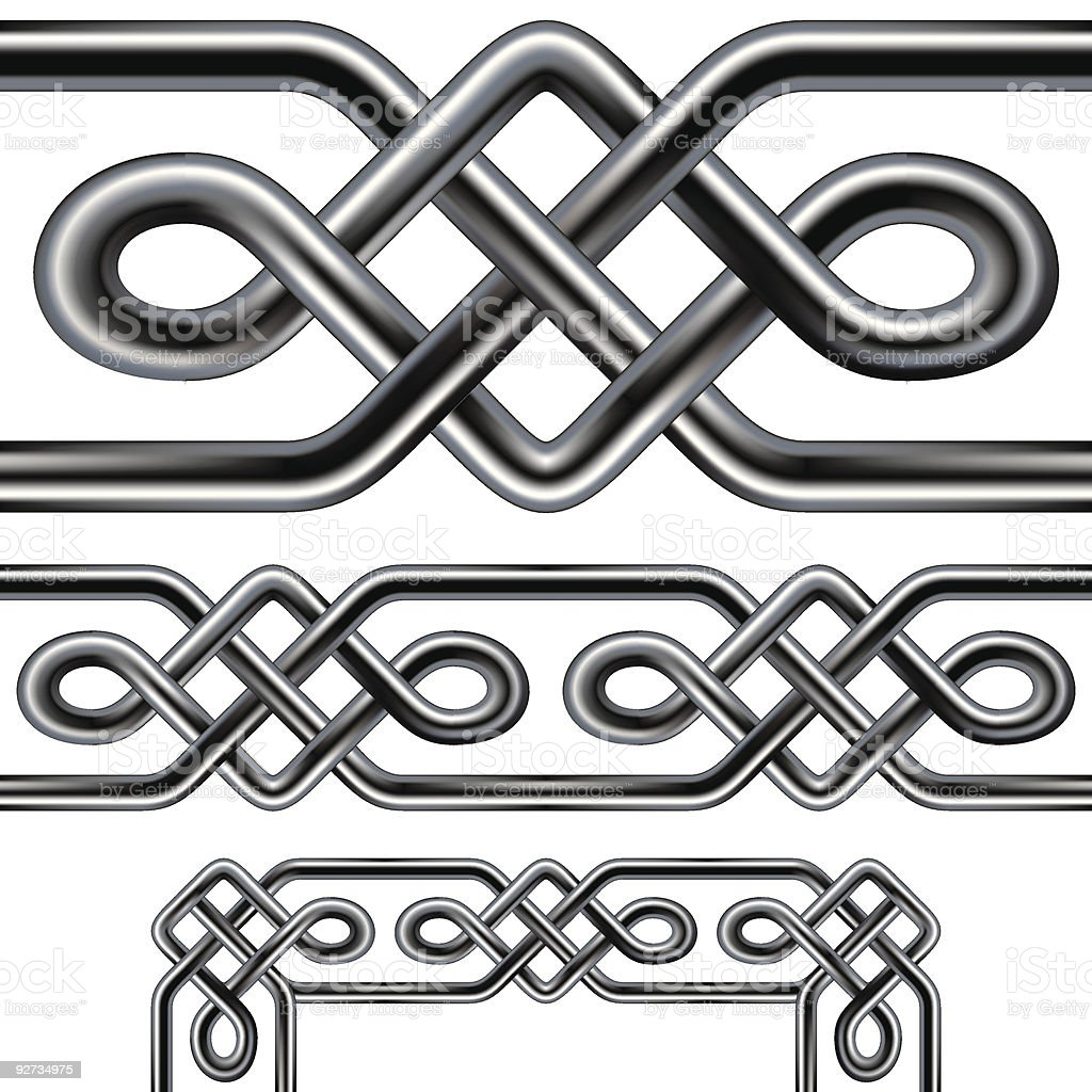 Seamless celtic border design with corners royalty-free stock vector art
