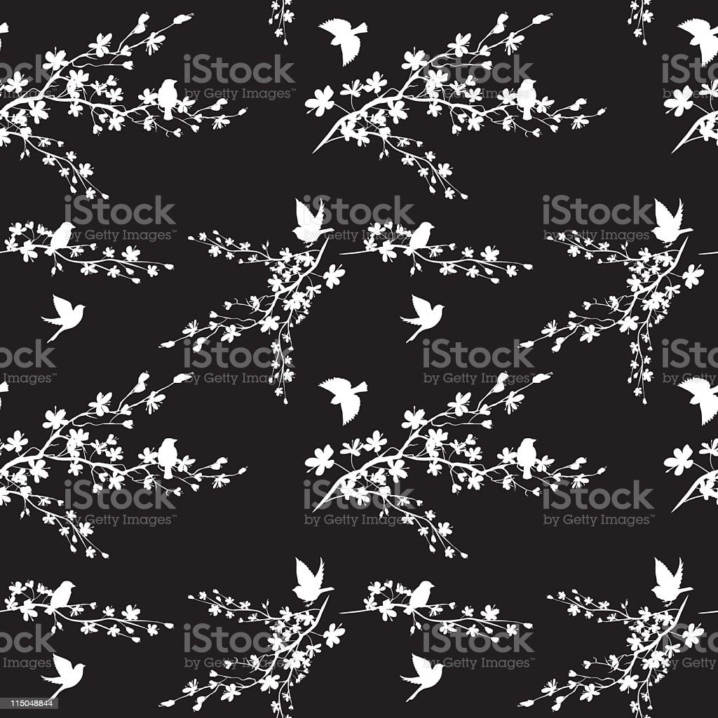 Seamless Cherry Blossoms royalty-free stock vector art
