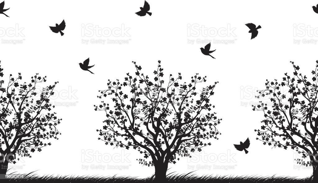 Seamless Cherry Trees Pattern vector art illustration