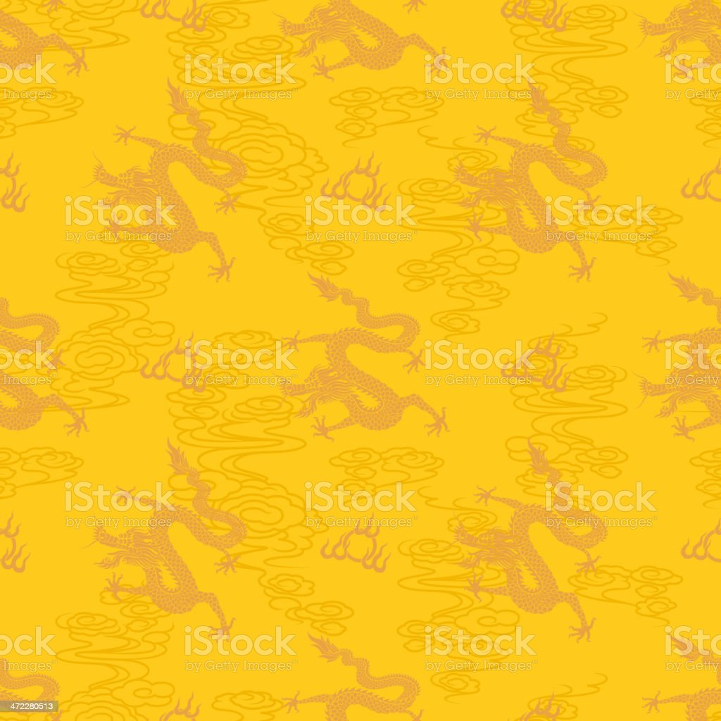 Seamless Chinese Dragon Pattern vector art illustration