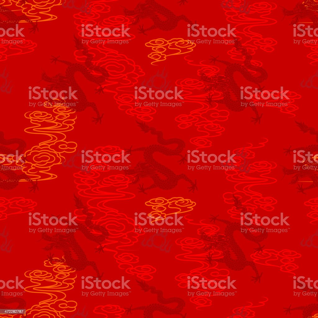 Seamless Chinese Dragon Pattern royalty-free stock vector art