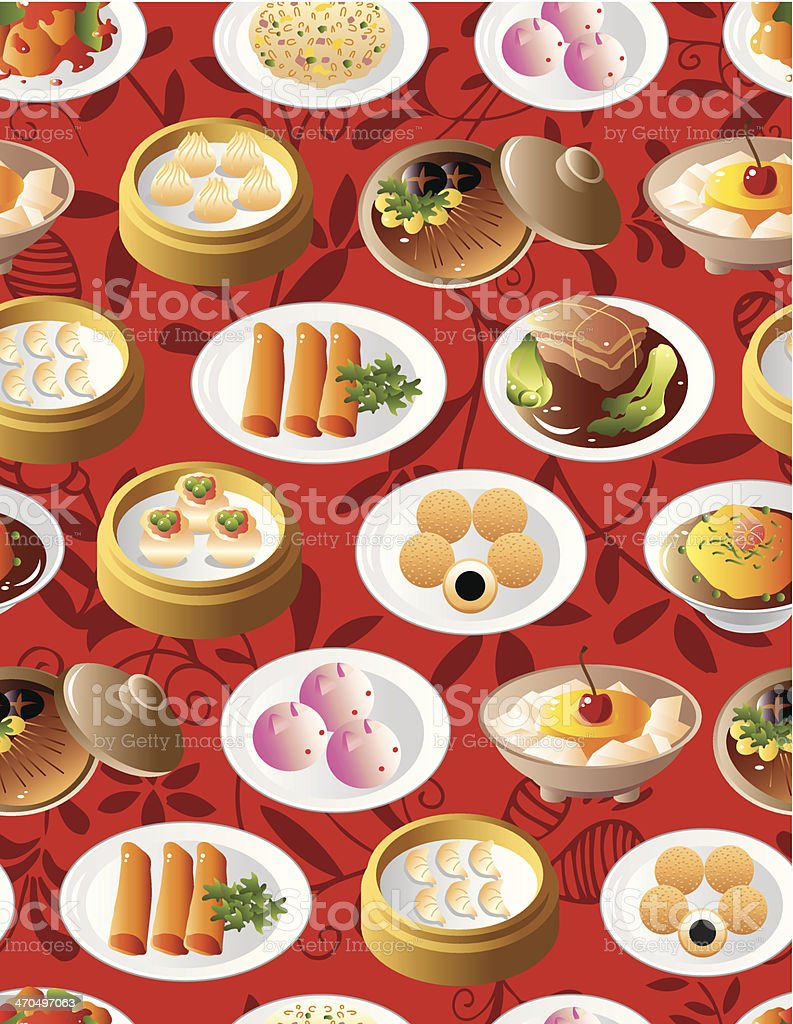 seamless chinese food pattern royalty-free stock vector art