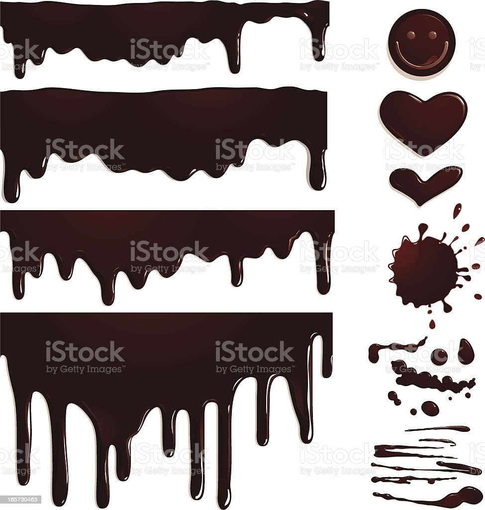 Seamless Chocolate drips and elements vector art illustration