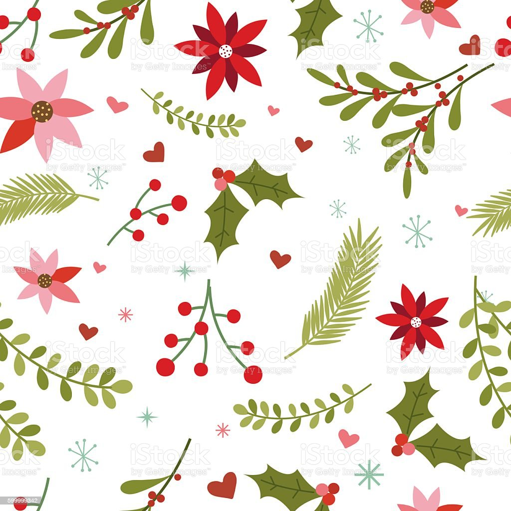 Seamless Christmas Background vector art illustration