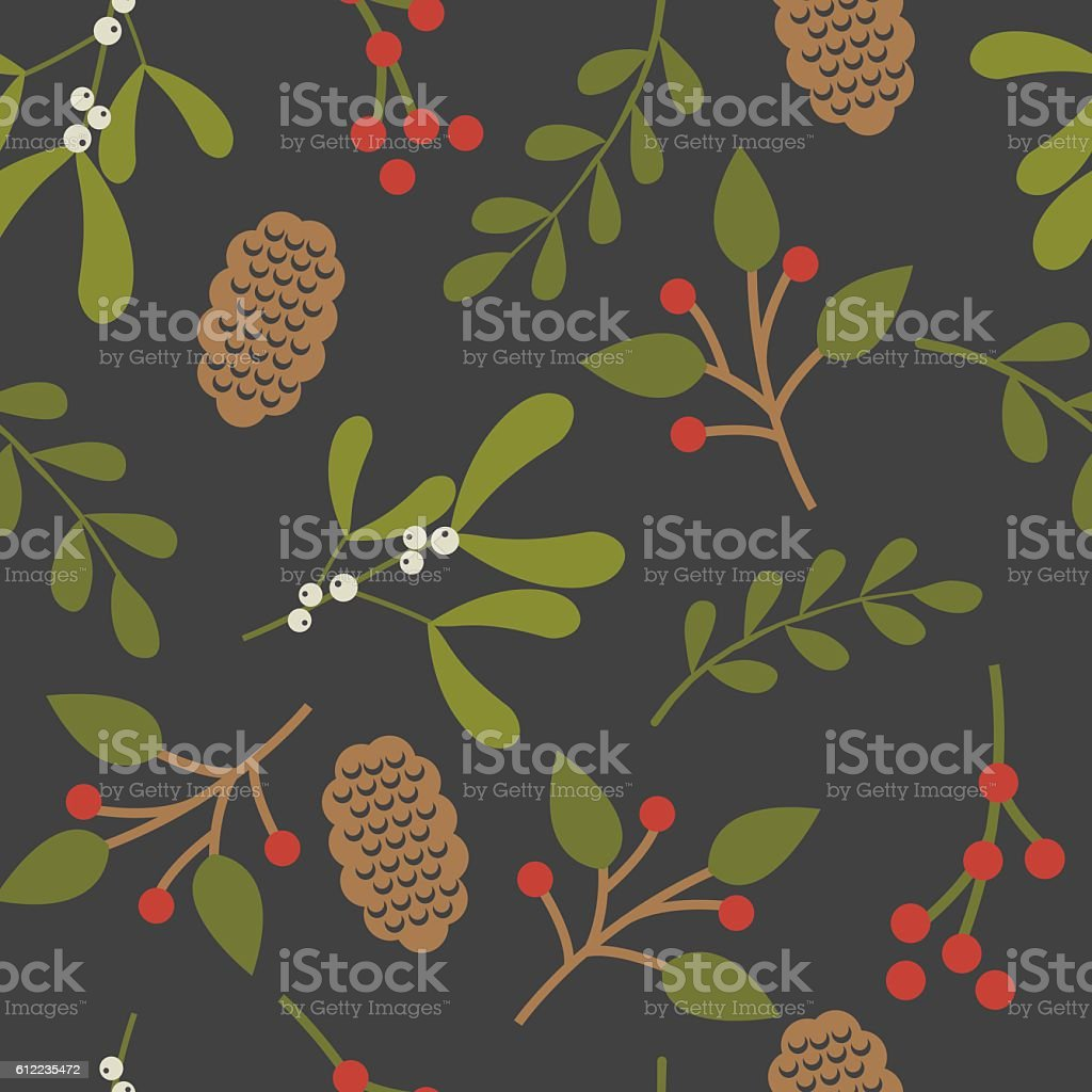 Seamless christmas background with leaf and mistletoe design vector art illustration