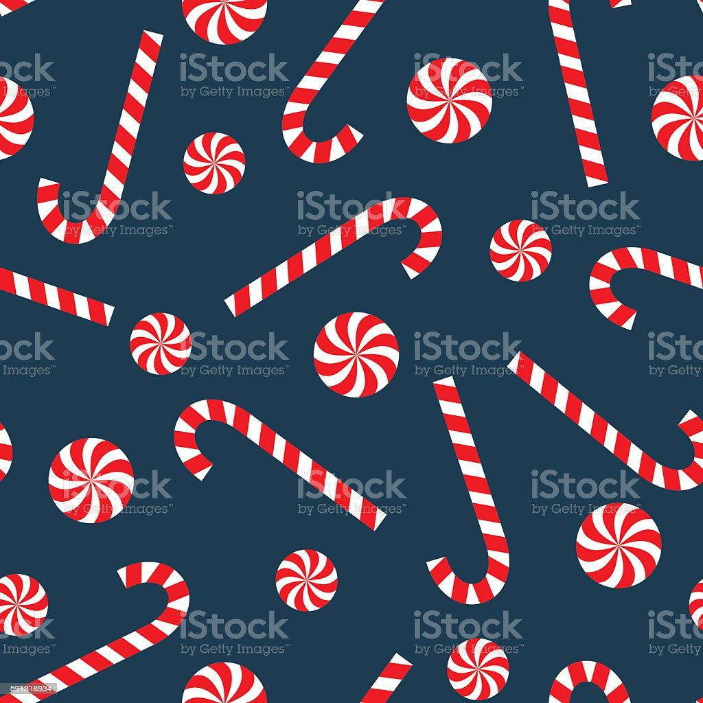 Seamless Christmas pattern with candy cane and lollipop. vector art illustration