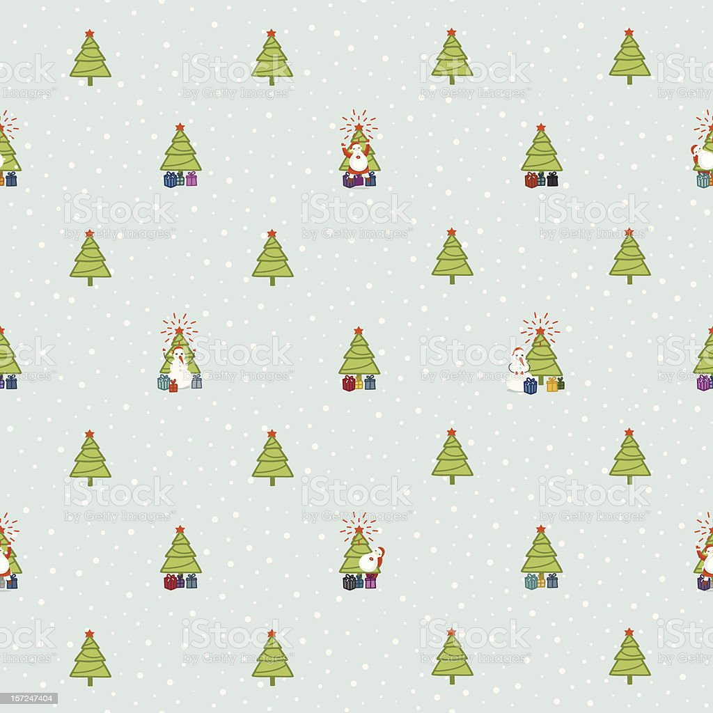 Seamless Christmas pattern with fir trees vector art illustration