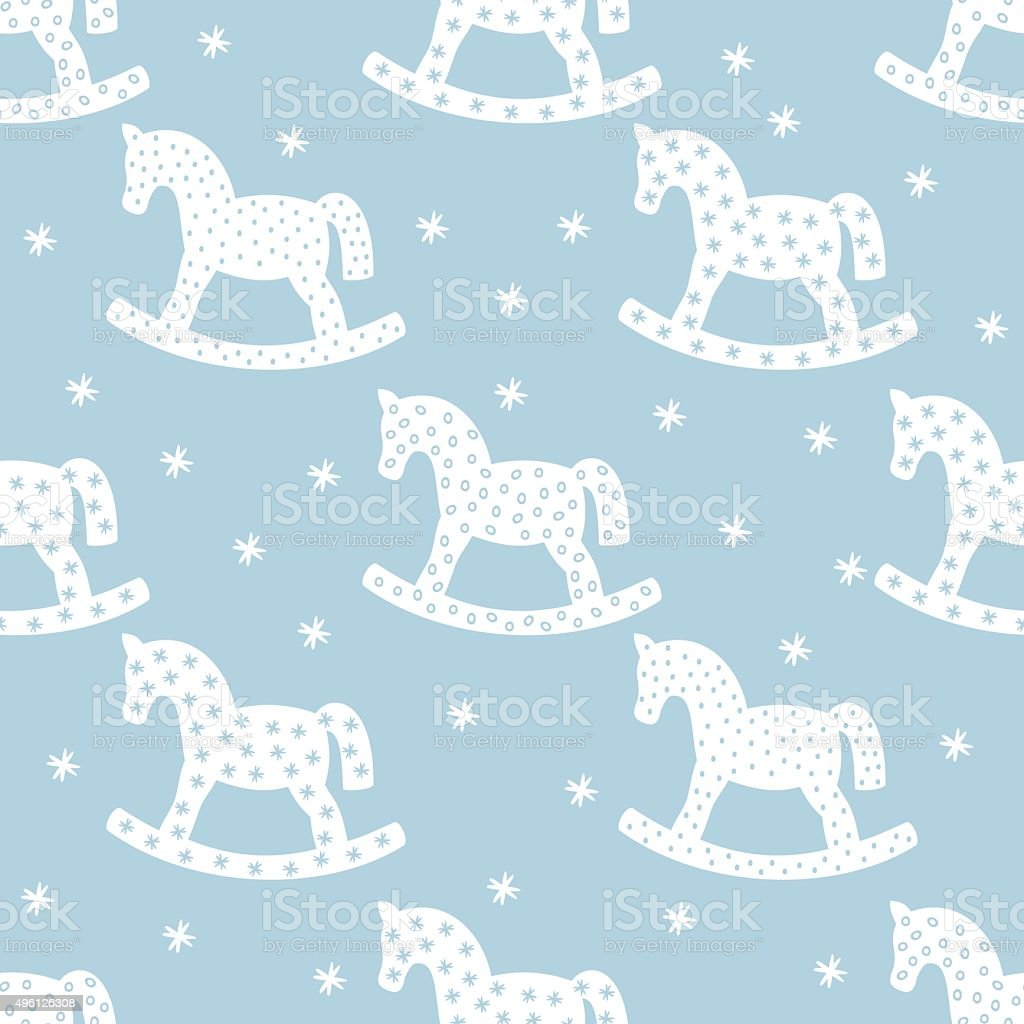 Seamless christmas pattern with rocking horses. vector art illustration