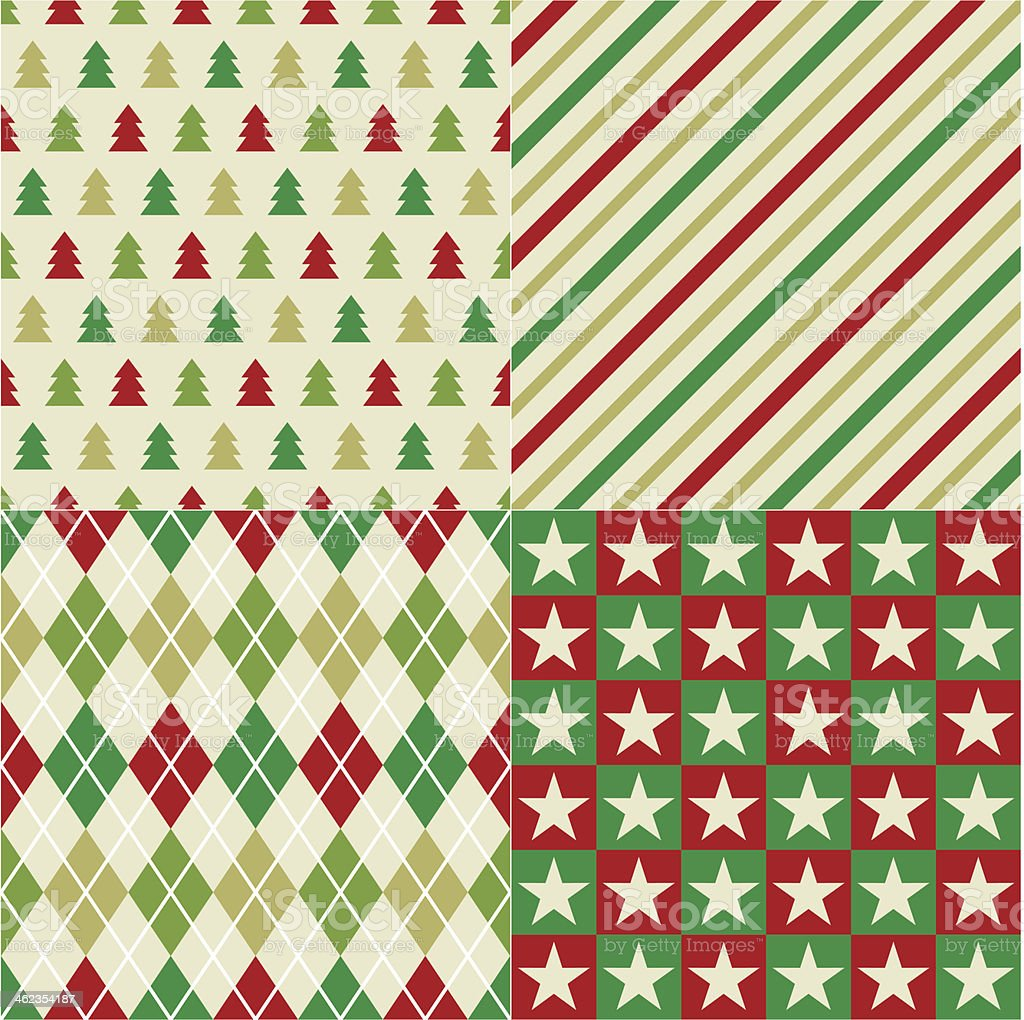 seamless christmas red and green pattern vector art illustration