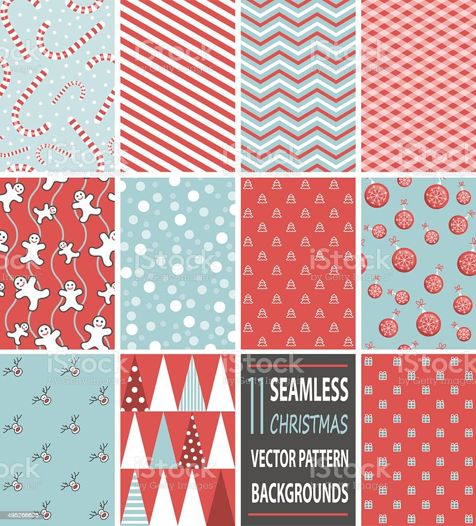 seamless christmas vector pattern backgrounds vector art illustration
