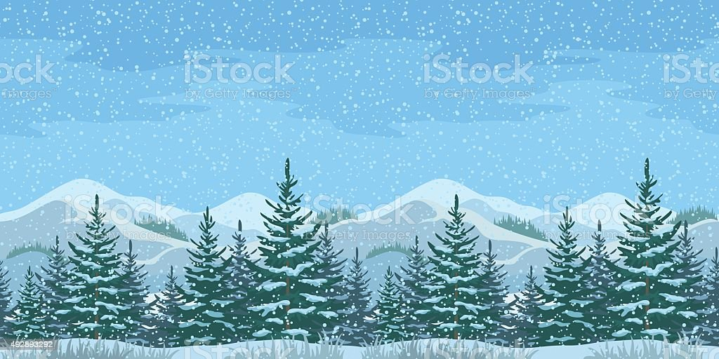 Seamless Christmas Winter Landscape vector art illustration