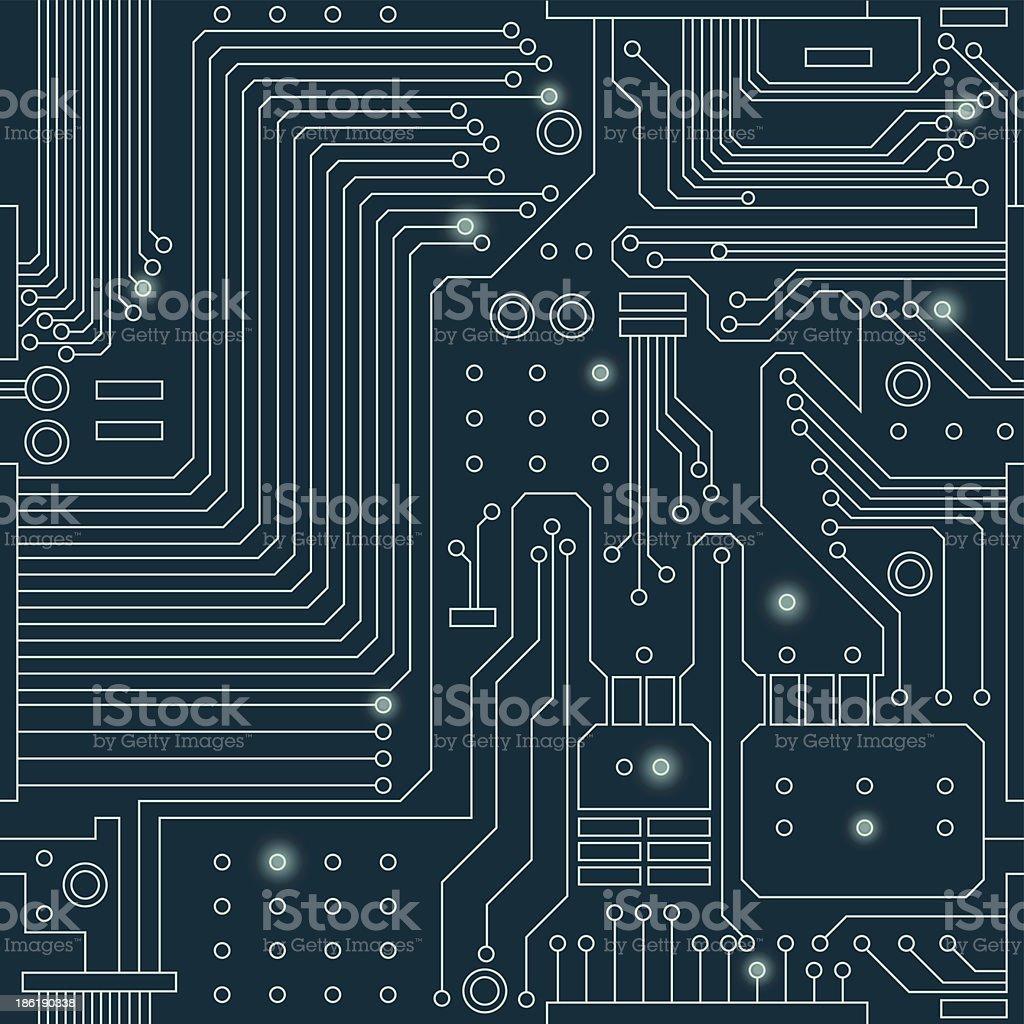 seamless circuit pattern vector art illustration