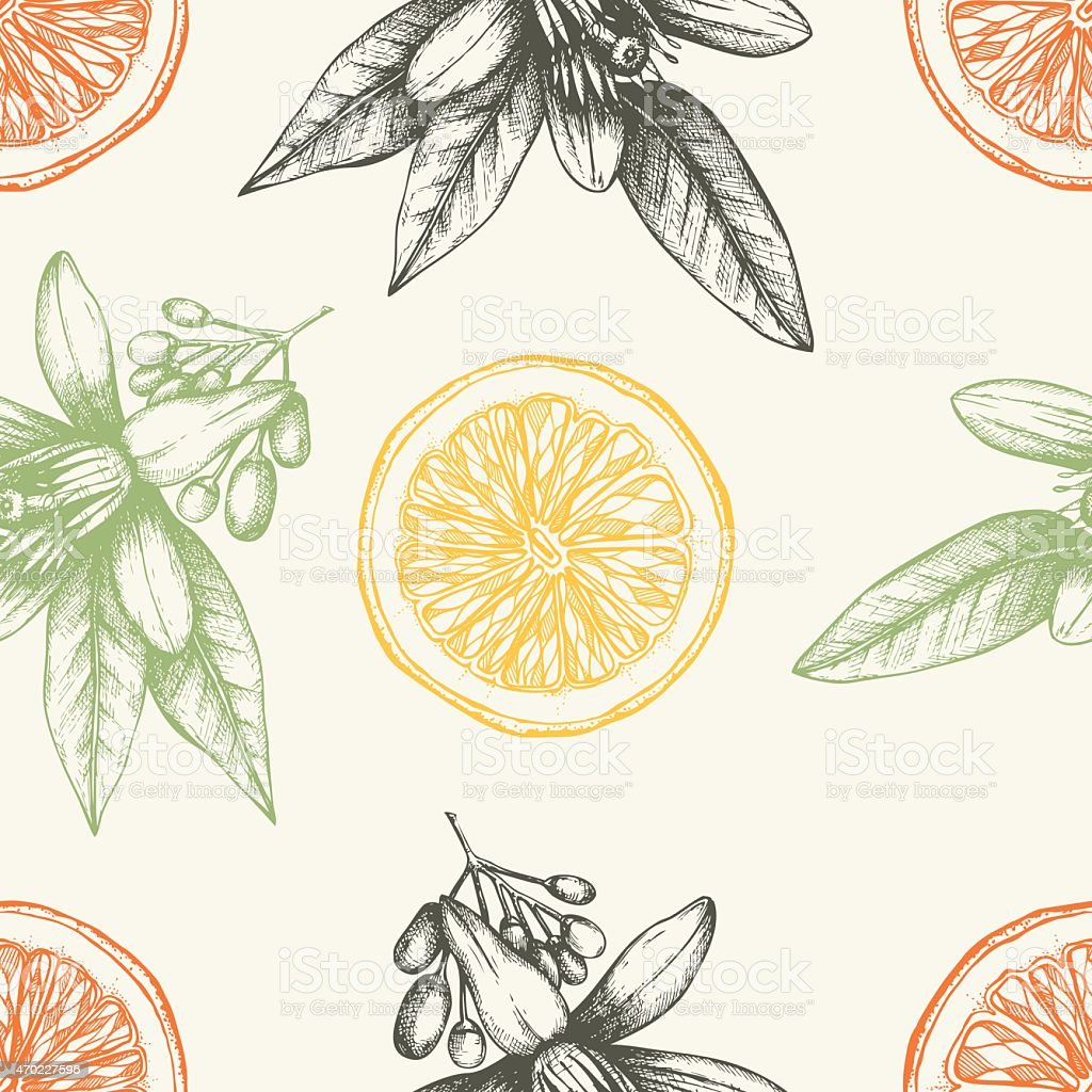 Seamless citrus themed pattern with oranges and flowers vector art illustration